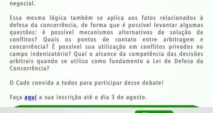 Seminário Arbitragem e Concorrência, organizado pelo CADE, acontecerá em 4/8